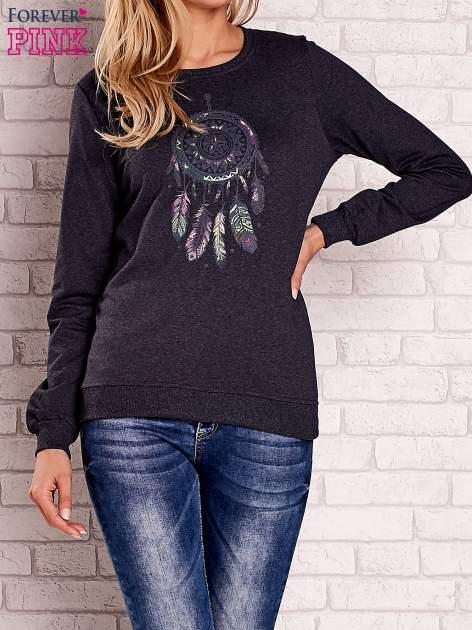 Ciemnoszary bluza z nadrukiem łapacza snów                                  zdj.                                  1