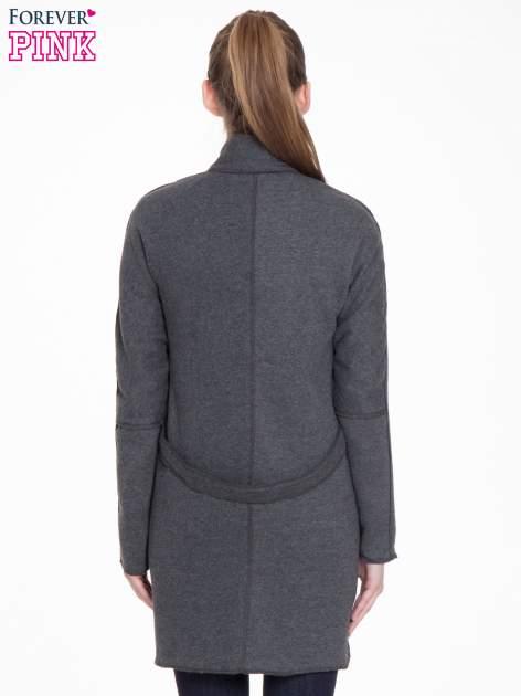 Ciemnoszary dresowy płaszcz o kroju oversize                                  zdj.                                  8