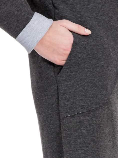 Ciemnoszary dresowy płaszcz oversize z kapturem                                  zdj.                                  6
