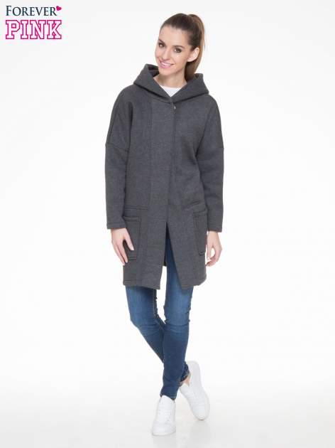 Ciemnoszary dresowy płaszcz z kapturem i kieszeniami                                  zdj.                                  2