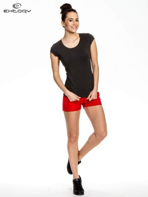 Ciemnoszary melanżowy damski t-shirt sportowy basic                                  zdj.                                  2