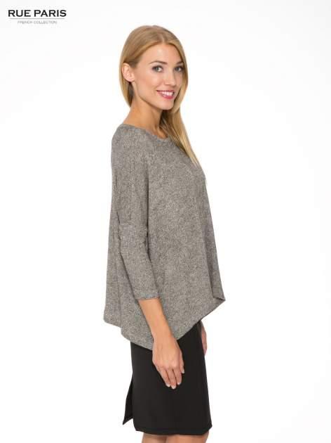 Ciemnoszary melanżowy sweter oversize o obniżonej linii ramion                                  zdj.                                  3