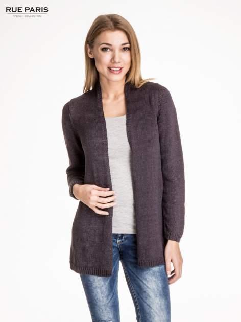 Ciemnoszary otwarty sweter z błyszczącą nitką