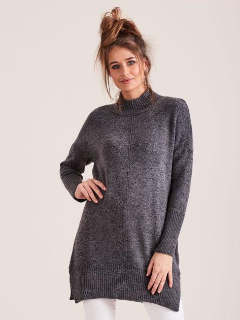 Ciemnoszary sweter damski z golfem                              zdj.                              1