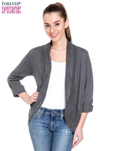 Ciemnoszary sweter narzutka z wywijanymi rękawami