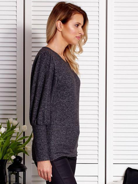 Ciemnoszary sweter z marszczeniami na rękawach                              zdj.                              3