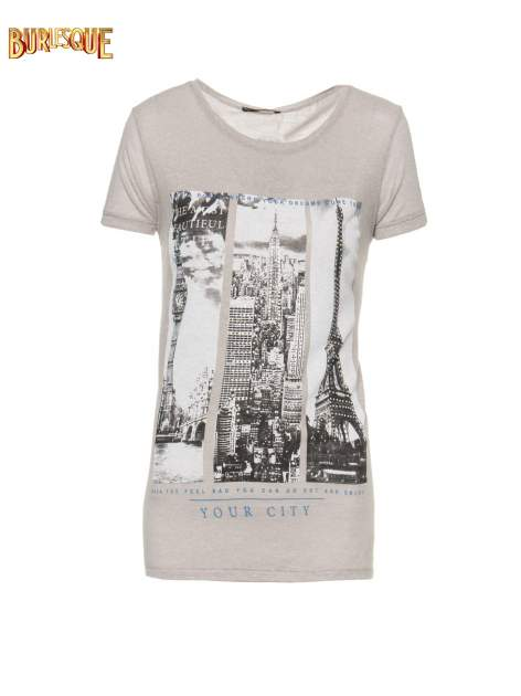 Ciemnoszary t-shirt z fotografiami miast                                  zdj.                                  1