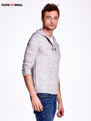 Ciemnoszary wełniany sweter męski z kieszenią z przodu FUNK N SOUL                                  zdj.                                  3