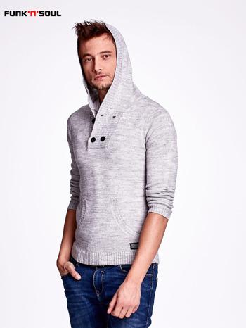 Ciemnoszary wełniany sweter męski z kieszenią z przodu FUNK N SOUL                                  zdj.                                  5