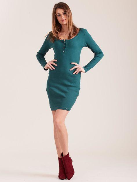Ciemnozielona dopasowana sukienka z guzikami                              zdj.                              4