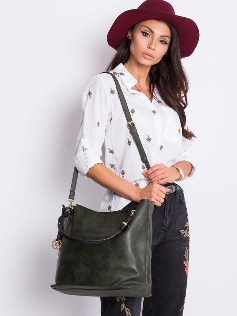 Ciemnozielona torba shopper                              zdj.                              1
