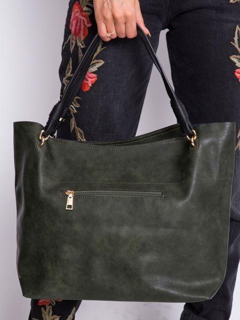 Ciemnozielona torba shopper                              zdj.                              5