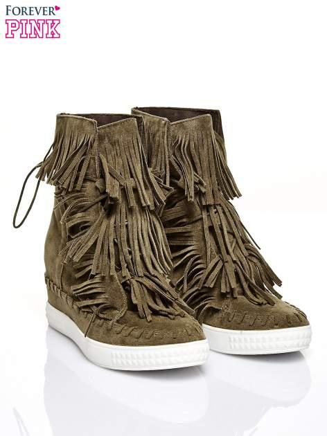Ciemnozielone sneakersy damskie z frędzlami                                  zdj.                                  2