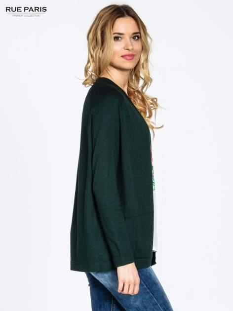 Ciemnozielony sweter kardigan z bocznymi kieszeniami                                  zdj.                                  3