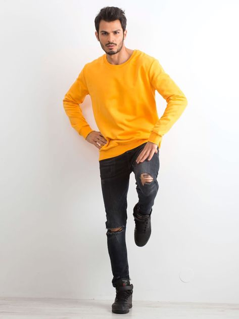 Ciemnożółta bawełniana bluza męska                              zdj.                              4