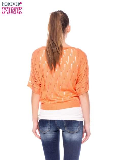 Ciemnożółty krótki ażurowy sweterek                                  zdj.                                  4
