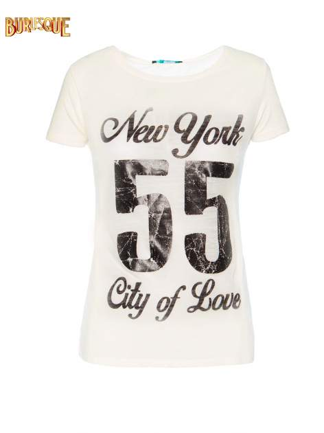 Ciemnyecru t-shirt z napisem NEW YORK CITY OF LOVE 55