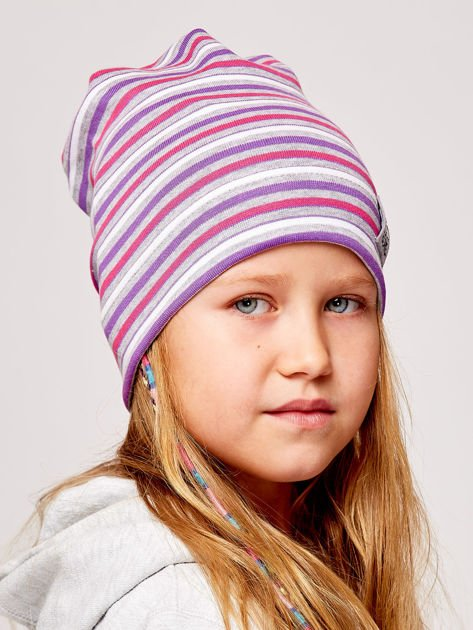 Czapka dziewczęca w paski z naszywką LOVE fioletowa                              zdj.                              3