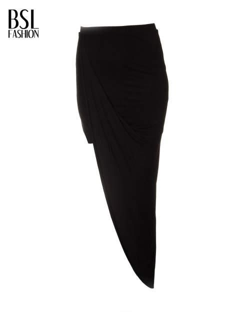 Czarna asymetryczna spódnica maxi z drapowaniem i rozporkiem z boku                                  zdj.                                  2