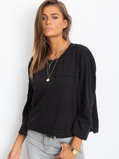 Czarna bawełniana bluza oversize                              zdj.                              5