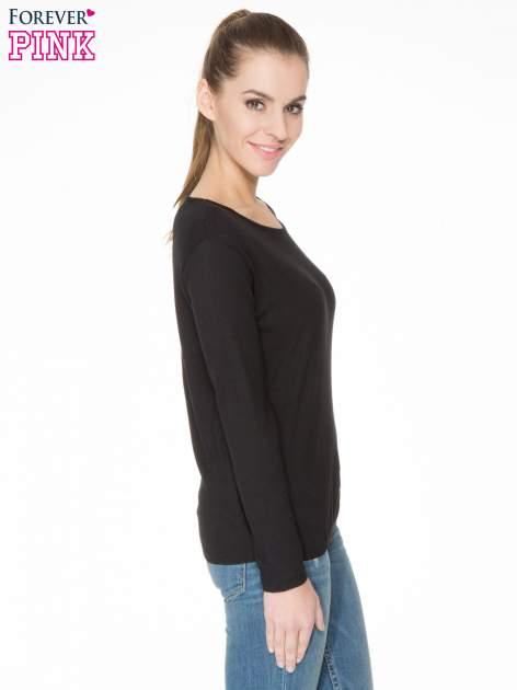 Czarna bawełniana bluzka z gumką na dole                                  zdj.                                  3