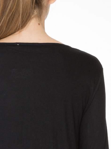 Czarna bawełniana bluzka z gumką na dole                                  zdj.                                  5
