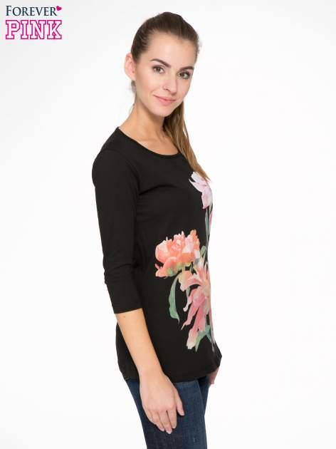 Czarna bawełniana bluzka z motywem kwiatowym                                  zdj.                                  3