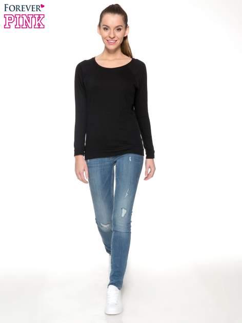Czarna bawełniana bluzka z rękawami typu reglan                                  zdj.                                  2