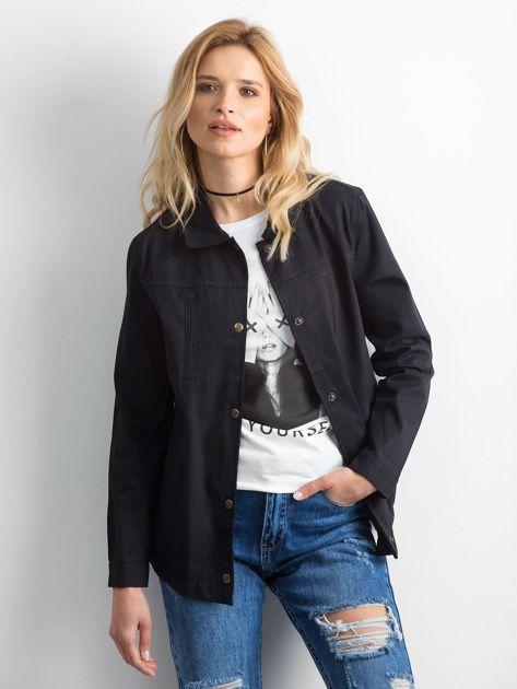 Czarna bawełniana kurtka oversize z napisem                              zdj.                              1