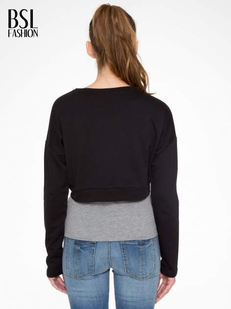 Czarna bluza cropped ze złotym napisem SELFIE                                  zdj.                                  4