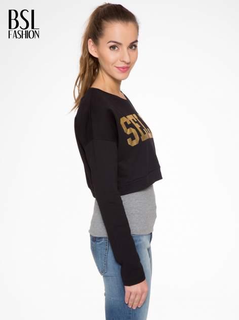 Czarna bluza cropped ze złotym napisem SELFIE                                  zdj.                                  3