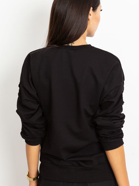 Czarna bluza damska z marszczonymi rękawami                              zdj.                              2