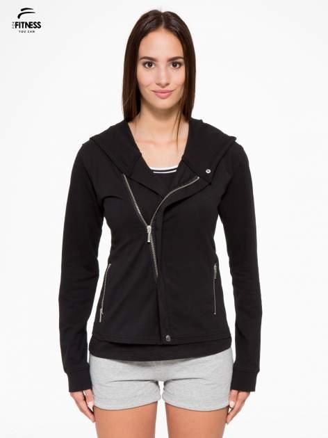 Czarna bluza dresowa z asymetrycznym suwakiem i kapturem                                  zdj.                                  1