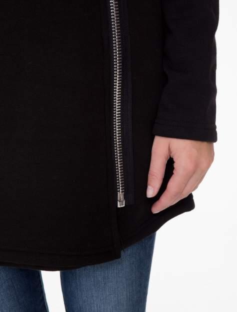Czarna bluza dresowa z kapturem i suwakiem z boku                                  zdj.                                  8
