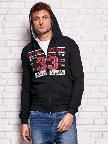 Czarna bluza męska z kapturem i tekstowym nadrukiem                                  zdj.                                  5