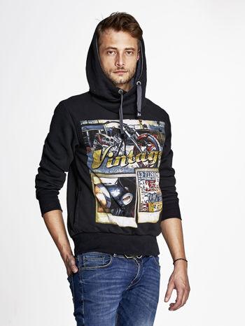 Czarna bluza męska z kapturem motyw motocyklowy                                  zdj.                                  5