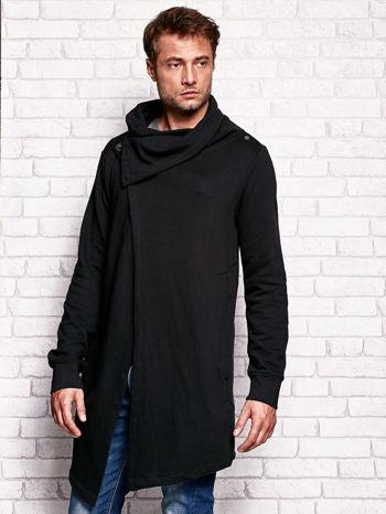 Czarna bluza męska z kaskadowym dekoltem                                  zdj.                                  3