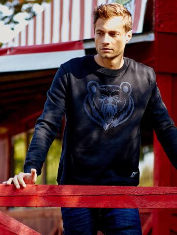 Czarna bluza męska z niedźwiedziem                                  zdj.                                  1
