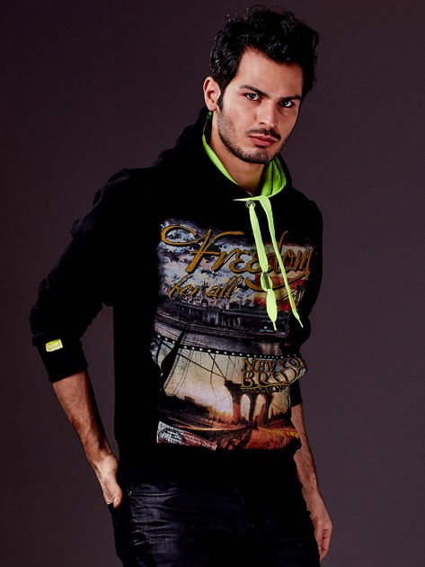Czarna bluza męska z nowojorskim nadrukiem                                   zdj.                                  3