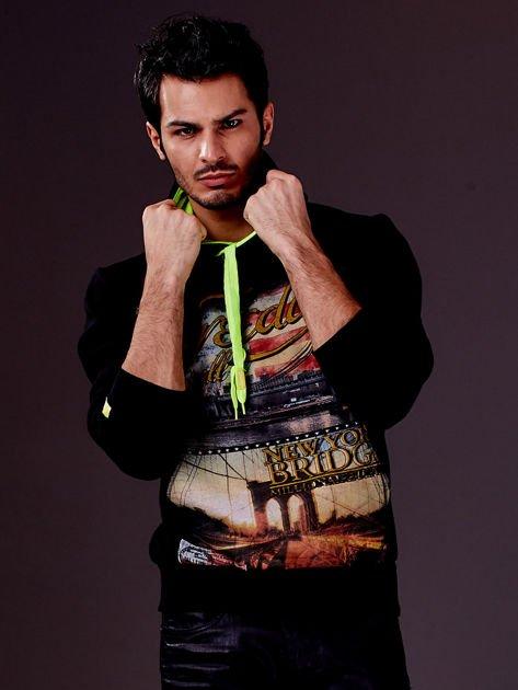 Czarna bluza męska z nowojorskim nadrukiem                                   zdj.                                  4