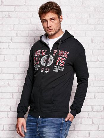 Czarna bluza męska z nowojorskimi motywami                                  zdj.                                  3