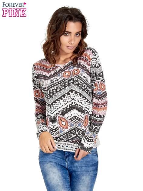 Czarna bluza w azteckie wzory z gipiurą                                  zdj.                                  1