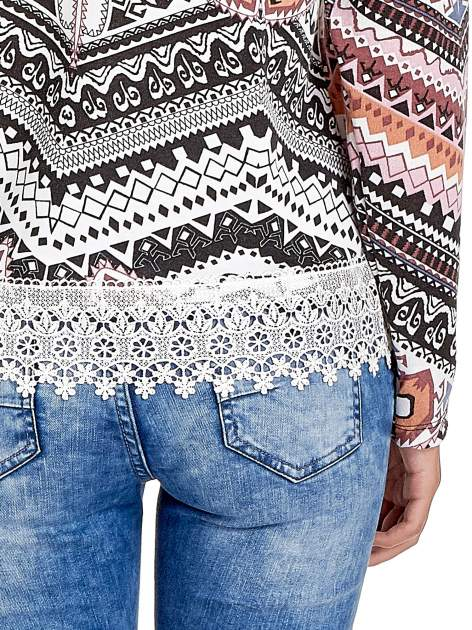 Czarna bluza w azteckie wzory z koronką                                  zdj.                                  6