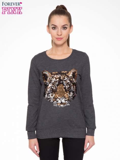Czarna bluza z aplikacją tygrysa z cekinów