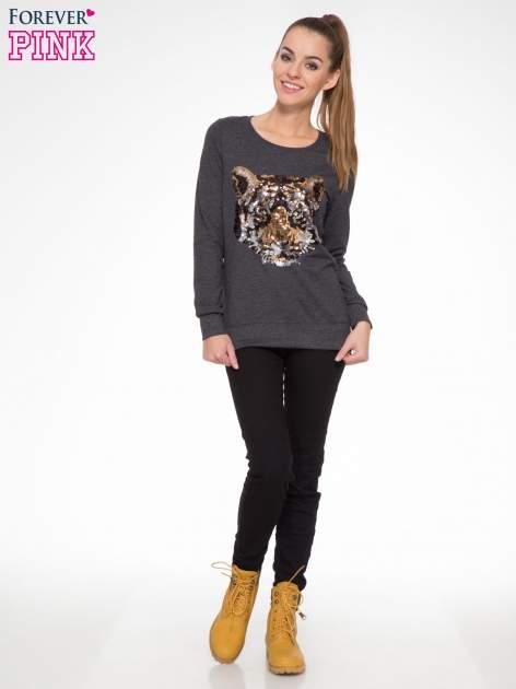 Czarna bluza z aplikacją tygrysa z cekinów                                  zdj.                                  2