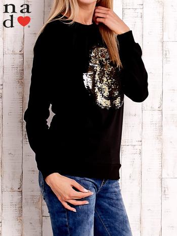 Czarna bluza z dwustronną naszywką z cekinów                                  zdj.                                  3