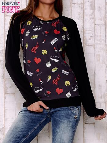 Czarna bluza z komiksowymi nadrukami