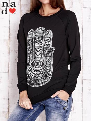Czarna bluza z motywem dłoni                                  zdj.                                  1