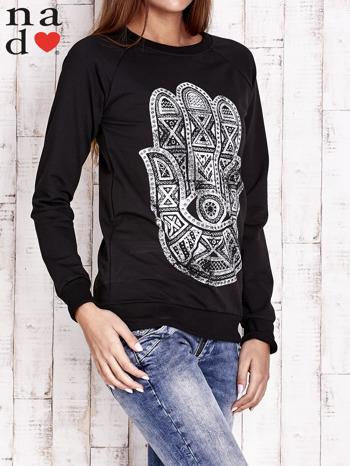 Czarna bluza z motywem dłoni                                  zdj.                                  3