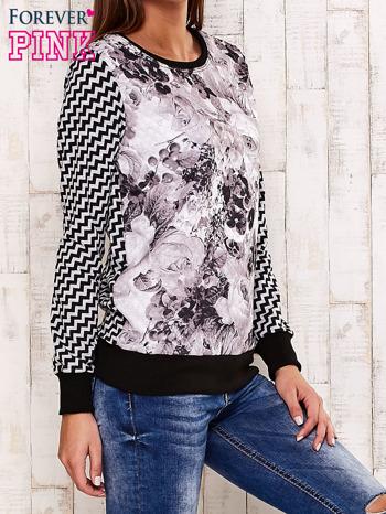 Czarna bluza z motywem kwiatowym i geometrycznym tyłem                                  zdj.                                  3
